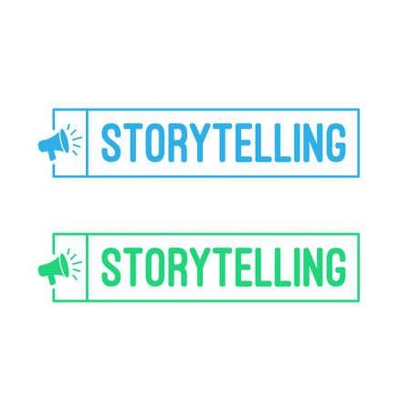 Storytelling Megaphone Label Illustration