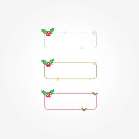 Christmas Holly Frames Flat Design Vector Set Stock Illustratie