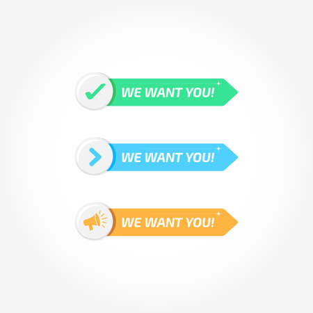 We Want You Banners Buttons Icons Set