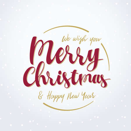 vector we wish you merry christmas happy new year lettering - We Wish You Merry Christmas