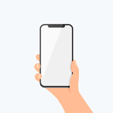 Hand Holding Phone Vector Icon on white