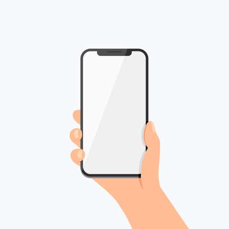 Ręki mienia telefonu Wektorowa ikona na bielu