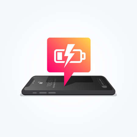 Phone Charging Low Battery Tag Icon Vector illustration.
