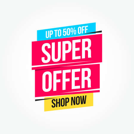 Super Offer 50% Off Shop Now Advertisement Label Stock Vector - 97733808