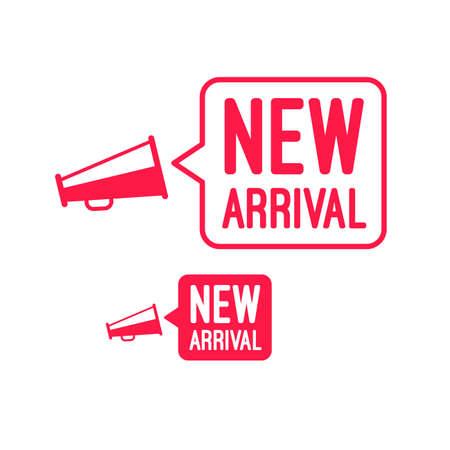 New Arrival Megaphone Advertisement Label Illustration