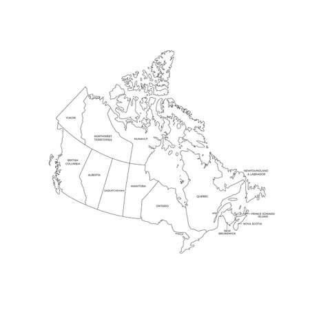 Canada Regions Map Line Vector Иллюстрация