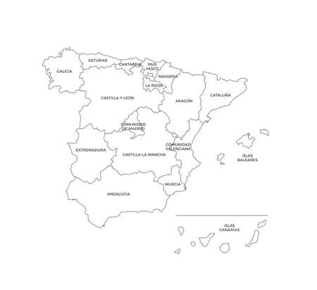 Spain Regions Map Line Vector