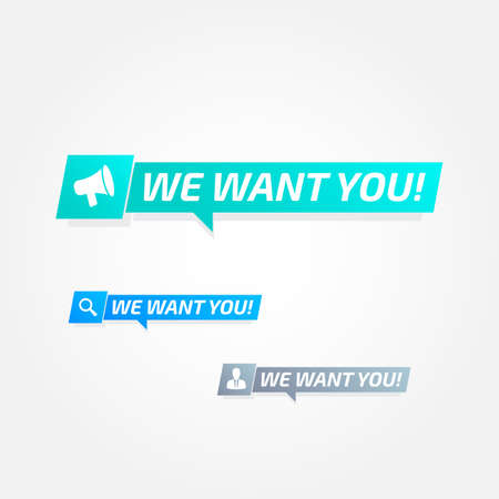 We Want You Tags Labels Illustration