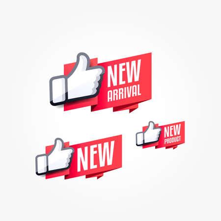 Neuankömmling, neues & neues Produkt Daumen hoch Shopping Label