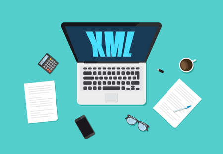Extensible Markup Language XML typo on Laptop vector illustration