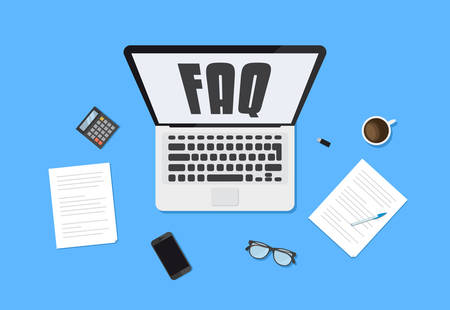 Frequently Asked Questions FAQ typo on Laptop vector illustration Иллюстрация