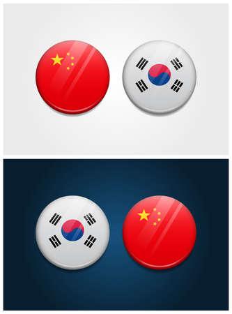 China and South Korea Round Flags