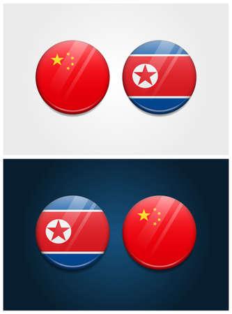 China and North Korea Round Flags