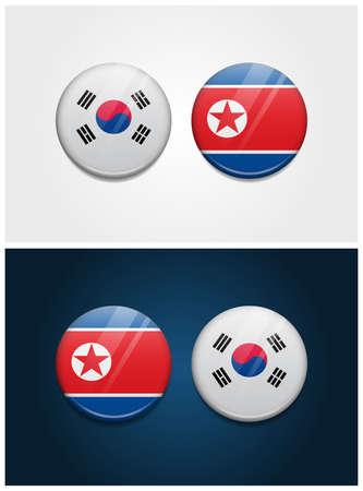 South Korea and North Korea Round Flags