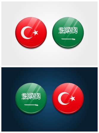 Turkey and Saudi Arabia Round Flags