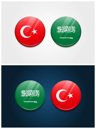 Turkey and Saudi Arabia Round Flags Stock Vector - 117925036