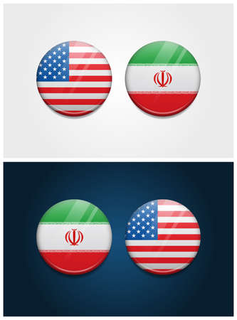 United States of America USA and Iran Round Flags