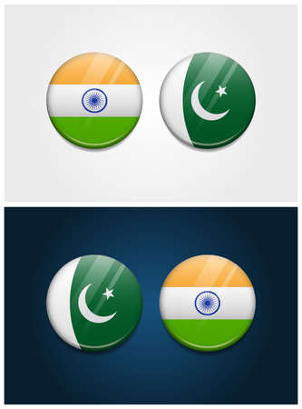India and Pakistan Round Flags