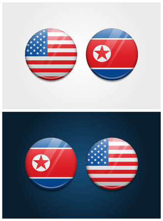 United States of America USA and North Korea Round Flags