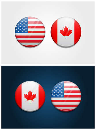 United States of America USA and Canada Round Flags Ilustracja