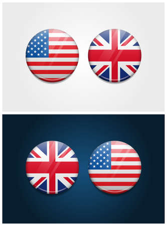 United States of America USA and United Kingdom Round Flags Vectores