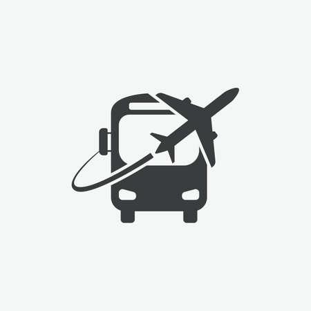 Airport Bus Shuttle Vector Icon Vector Illustration