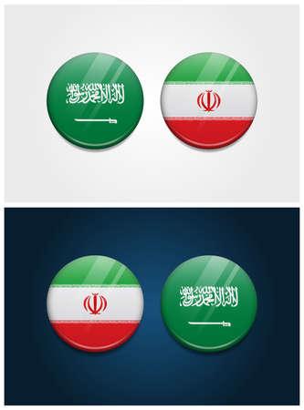 Saudi Arabia and Iran Round Flags 일러스트