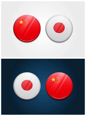China and Japan Round Flags Ilustrace