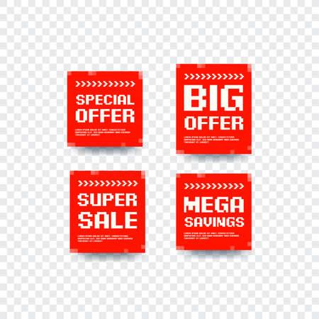 Special Offer, Big Offer, Super Sale and Mega Savings Bitmap Design Vector Labels