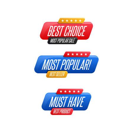 Beste Wahl, beliebteste und unverzichtbare Etiketten Vektorgrafik