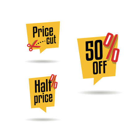 Price Cut, 50% Off & Half Price Labels 向量圖像