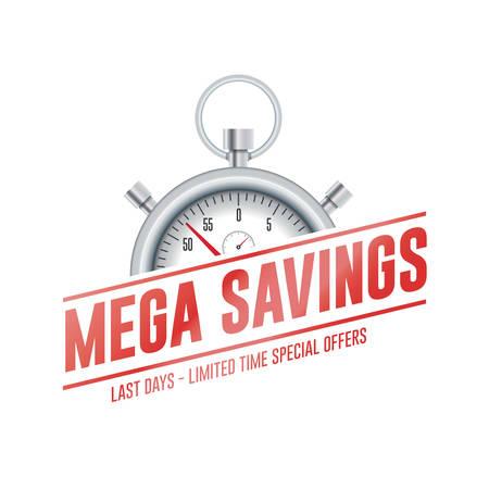 Mega Savings Chrono Time Label  イラスト・ベクター素材
