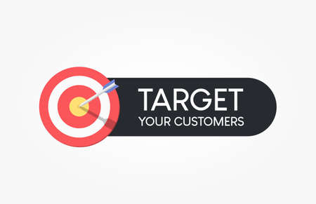 Target Your Customers Dartboard Label Reklamní fotografie - 124811029