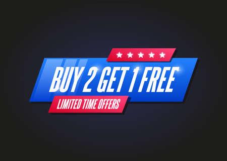Buy 2 Get 1 Free Shopping Announcement Label Banco de Imagens - 124811046