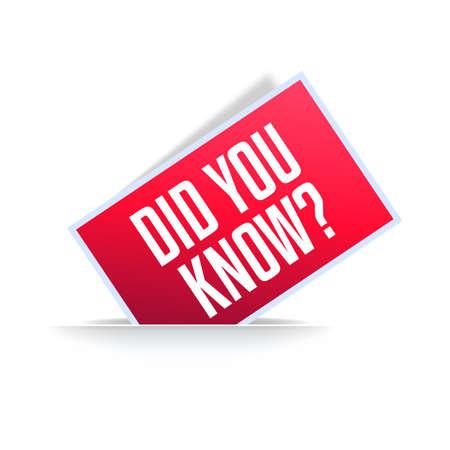 Did You Know Announcement Label Reklamní fotografie - 124811062