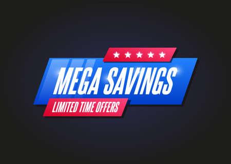 Mega Savings Shopping Announcement Label