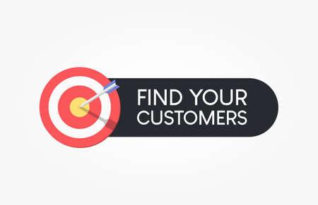Find Your Customers Dartboard Label Reklamní fotografie - 124811071