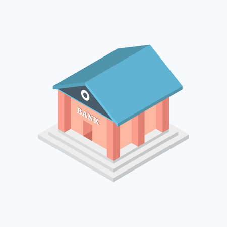 Bank Building Isometric Color Icon