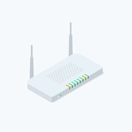 Network Router Isometric Color Icon Ilustrace