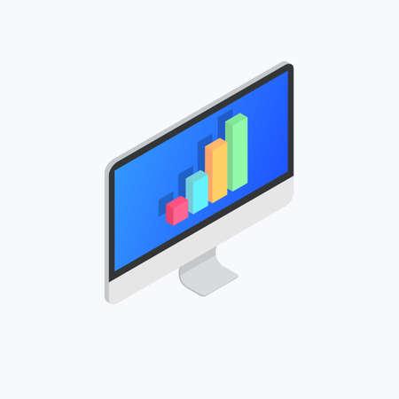 Computer Statistics Graphic Isometric Color Icon