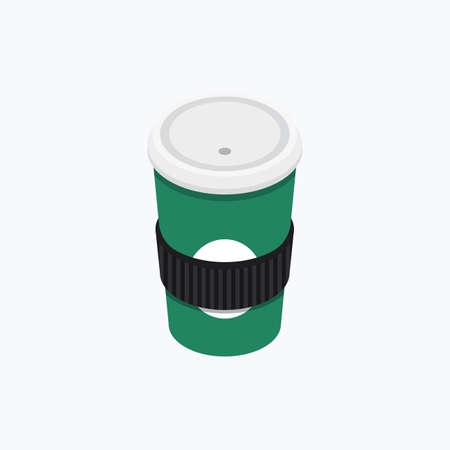Coffee Paper Cup Isometric Color Icons