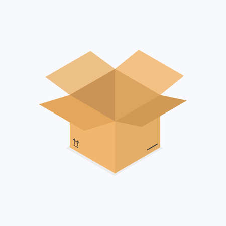 Open Empty Cardboard Box Isometric Color Icon