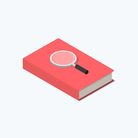Book & Magnifying Glass Study Isometric Color Icon
