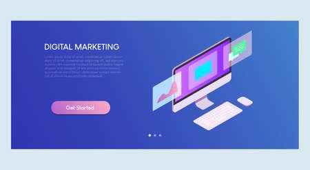 Digital Marketing Isometric Banner Template Ilustracja