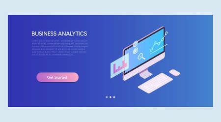 Business Analytics Isometric Banner Template