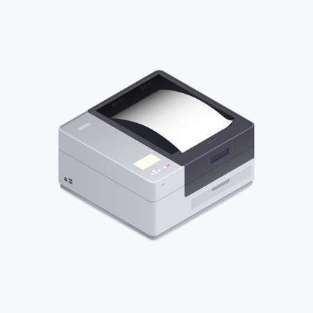 Printer Device Isometric Color Icon