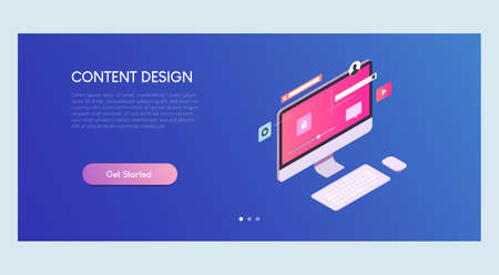 Content Design Isometric Banner Template