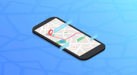 Phone Map Navigation Isometric Color Icon Ilustracja