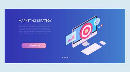 Marketing Strategy Isometric Banner Template Ilustracja