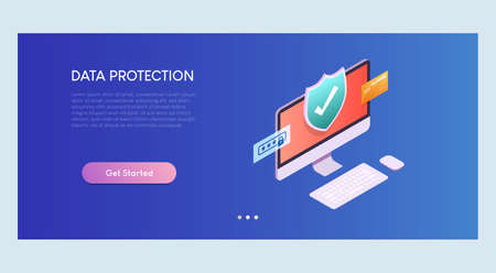 Data Protection Isometric Banner Template